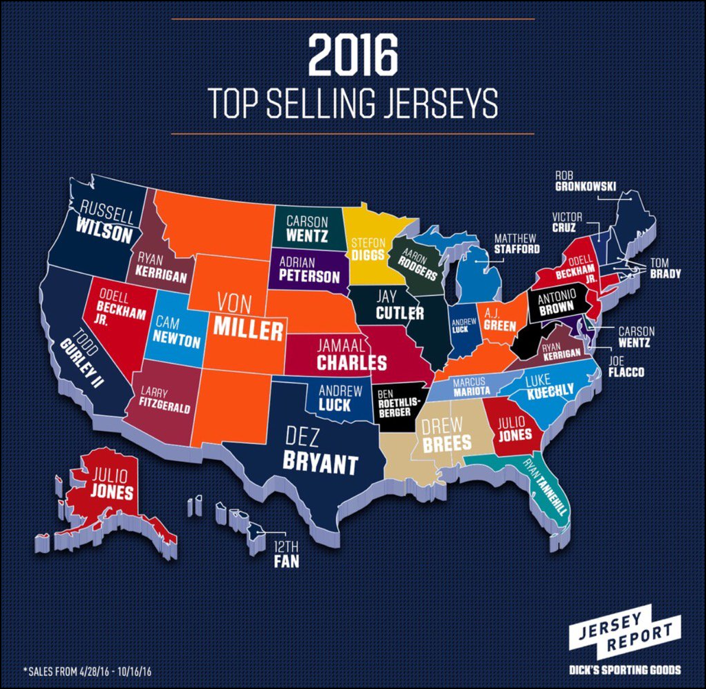 NFL Jersey Sales By State Lineuplab - Nfl us map
