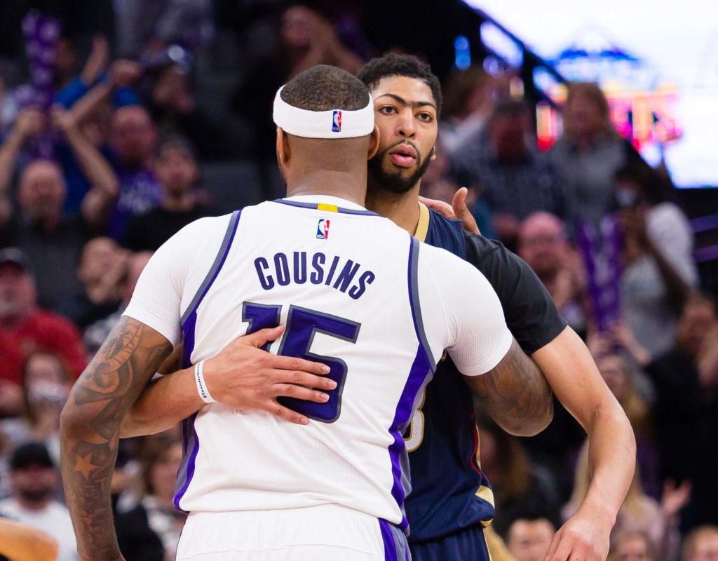 NBA Daily Fantasy Basketball Lineup Picks - Lineuplab.com - DeMarcus Cousins & Anthony Davis hug it out