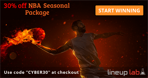 """Use code """"CYBER30"""" for 30% off of NBA Seasonal Package - START WINNING TODAY at Lineuplab.com"""